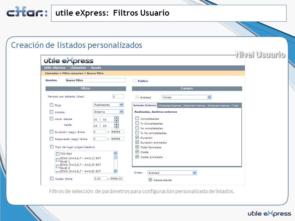 utile eXpress: Filtros Usuario