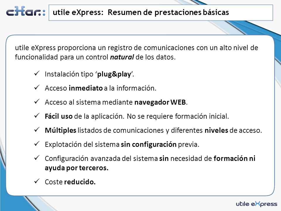utile eXpress: Resumen de prestaciones básicas