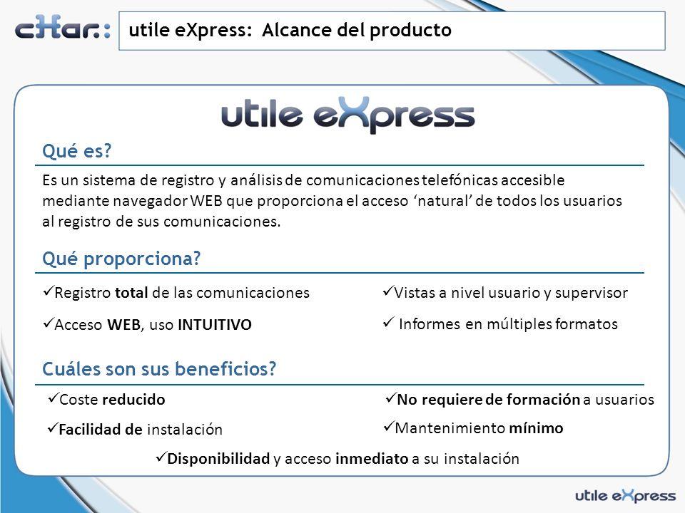 utile eXpress: Alcance del producto