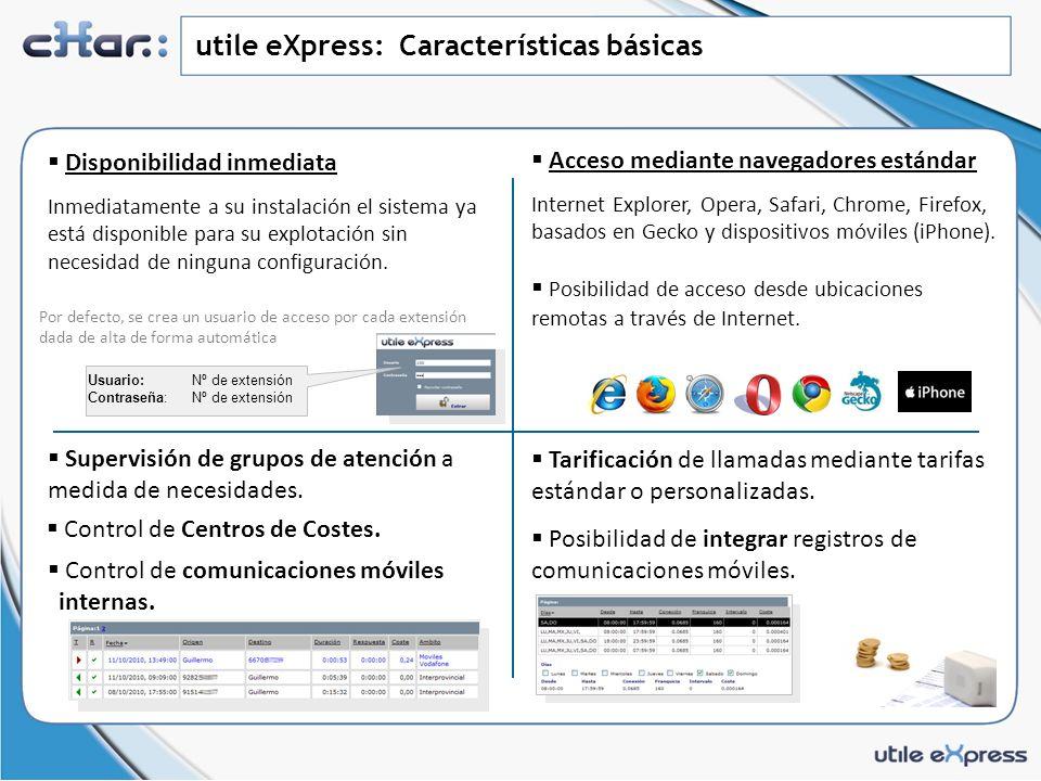 utile eXpress: Características básicas