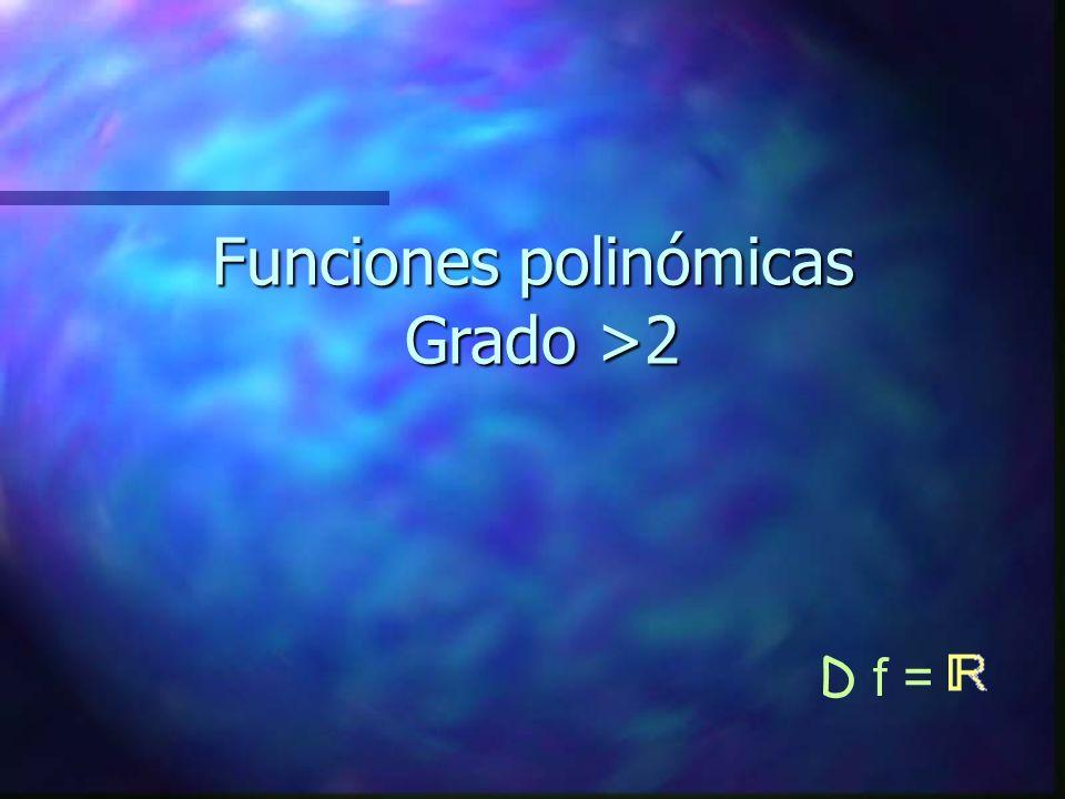 Funciones polinómicas Grado >2