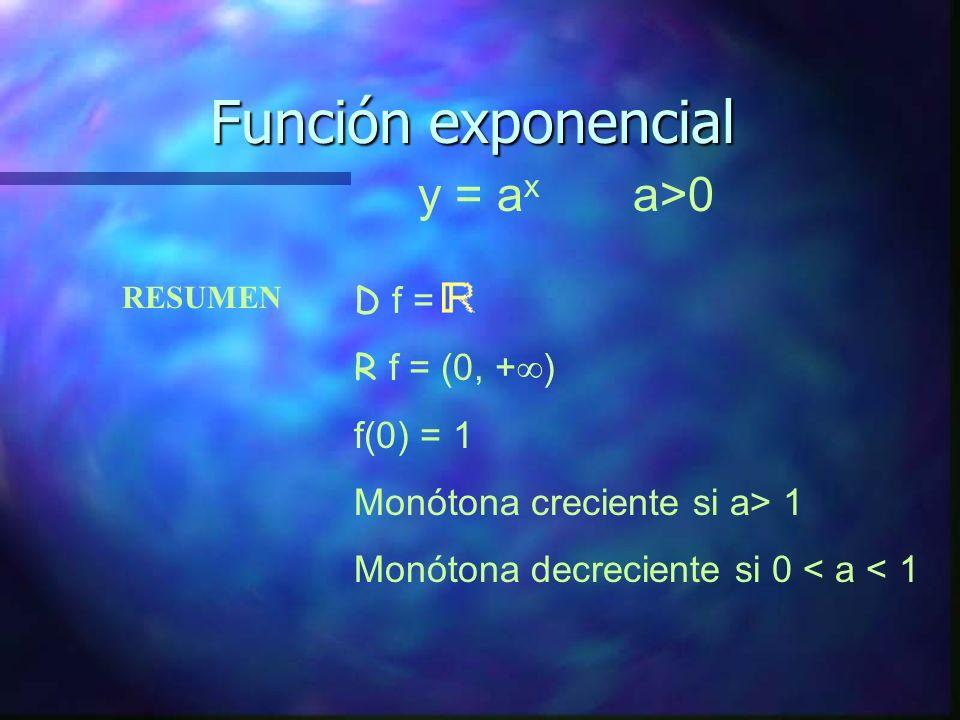 Función exponencial y = ax a>0 D f = R f = (0, +) f(0) = 1