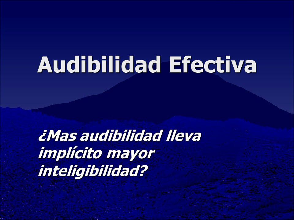 ¿Mas audibilidad lleva implícito mayor inteligibilidad