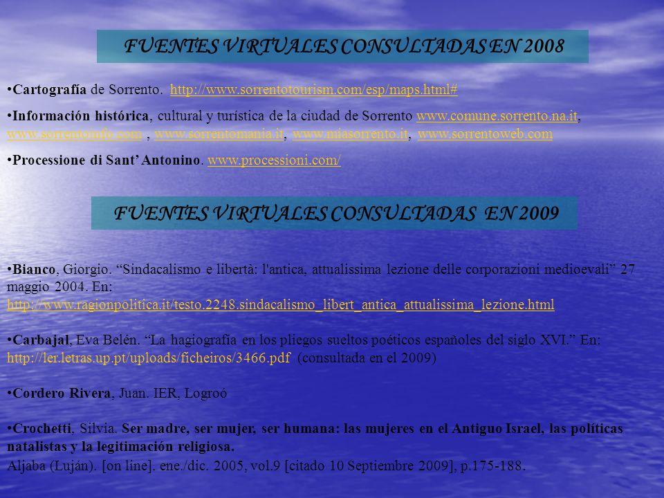 FUENTES VIRTUALES CONSULTADAS EN 2008