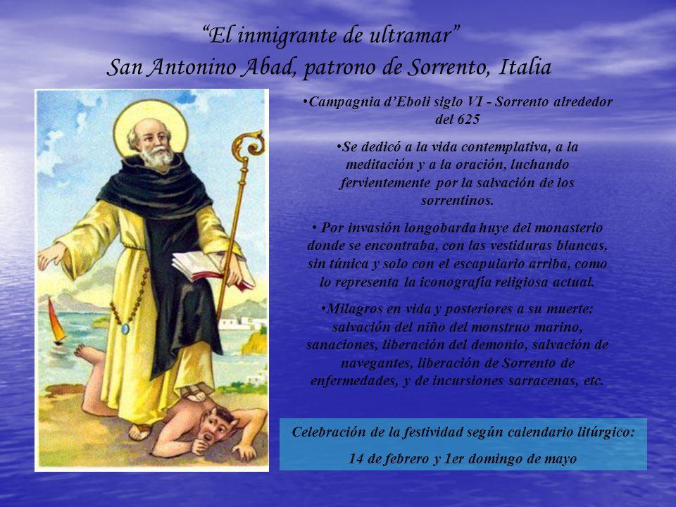 El inmigrante de ultramar San Antonino Abad, patrono de Sorrento, Italia