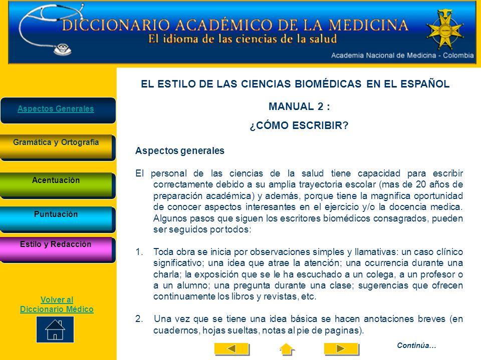 EL ESTILO DE LAS CIENCIAS BIOMÉDICAS EN EL ESPAÑOL