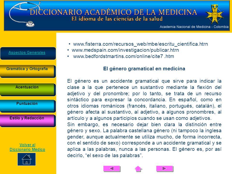 El género gramatical en medicina