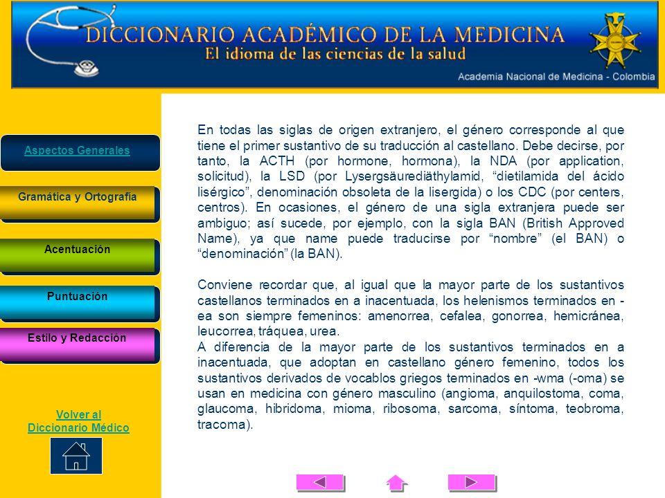 Gramática y Ortografía Volver al Diccionario Médico