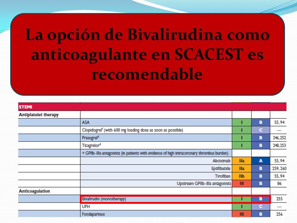 La opción de Bivalirudina como anticoagulante en SCACEST es recomendable