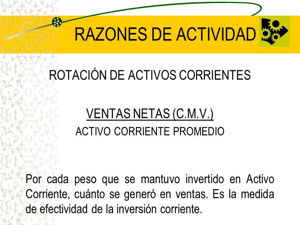 RAZONES DE ACTIVIDAD ROTACIÓN DE ACTIVOS CORRIENTES
