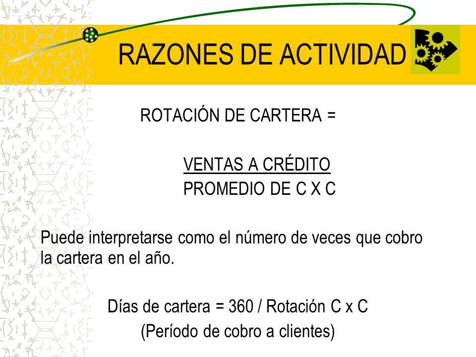 RAZONES DE ACTIVIDAD ROTACIÓN DE CARTERA = VENTAS A CRÉDITO