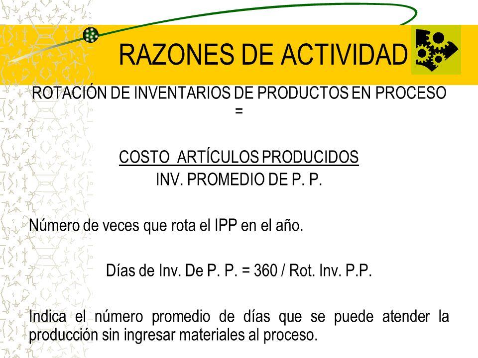 RAZONES DE ACTIVIDAD ROTACIÓN DE INVENTARIOS DE PRODUCTOS EN PROCESO =