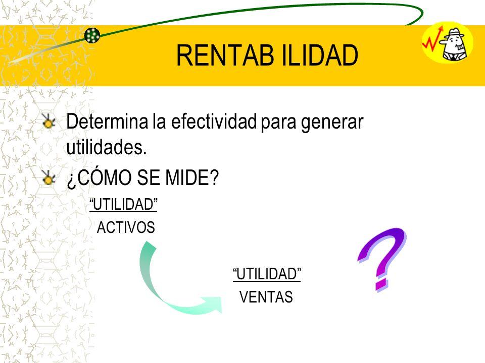 RENTAB ILIDAD Determina la efectividad para generar utilidades.