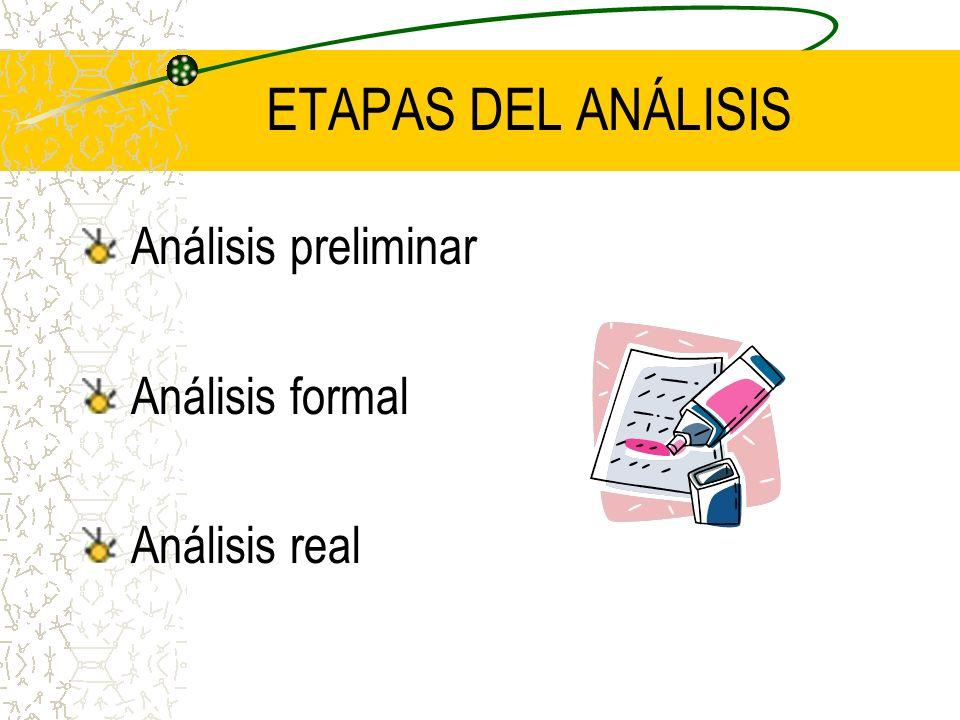 ETAPAS DEL ANÁLISIS Análisis preliminar Análisis formal Análisis real