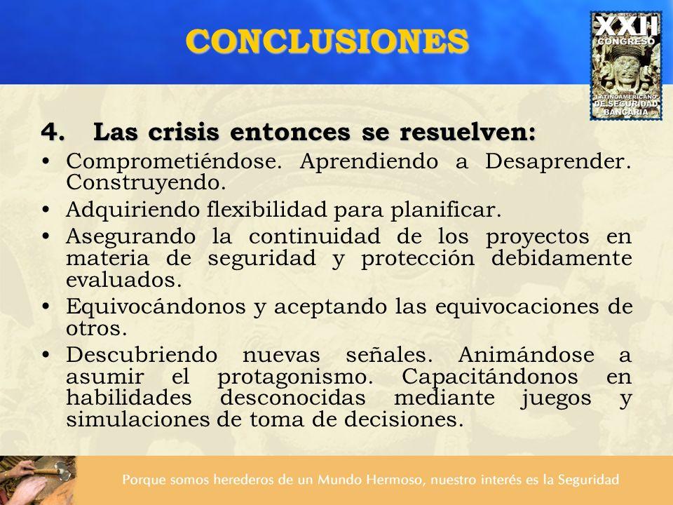 CONCLUSIONES 4. Las crisis entonces se resuelven: