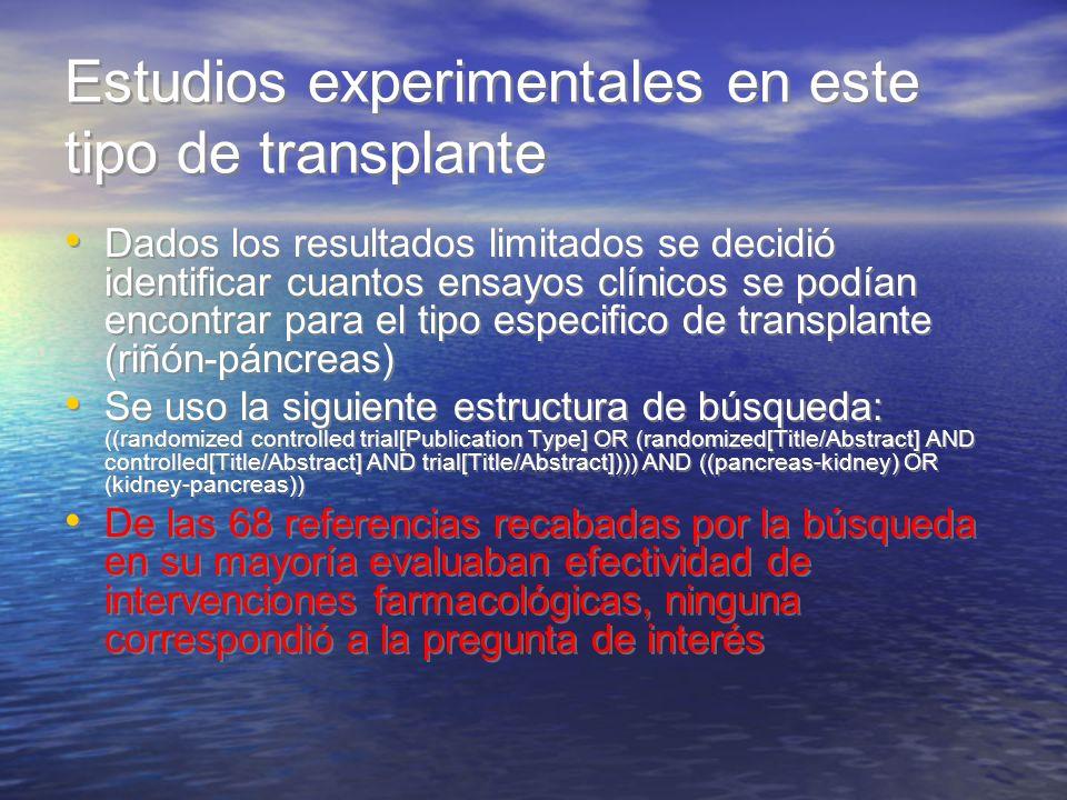 Estudios experimentales en este tipo de transplante