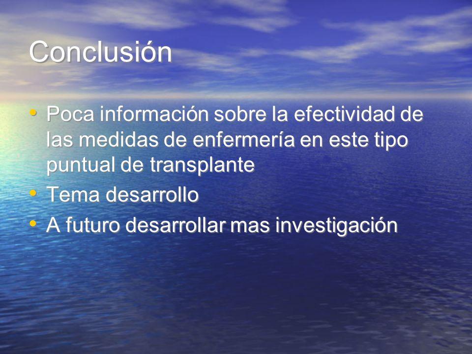 Conclusión Poca información sobre la efectividad de las medidas de enfermería en este tipo puntual de transplante.