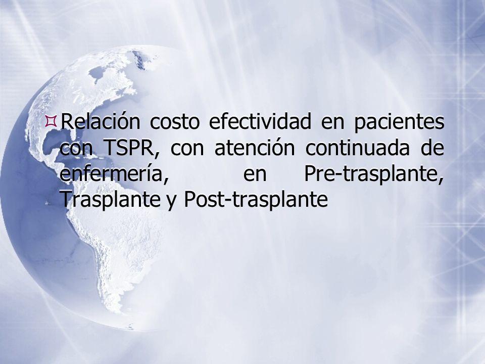 Relación costo efectividad en pacientes con TSPR, con atención continuada de enfermería, en Pre-trasplante, Trasplante y Post-trasplante