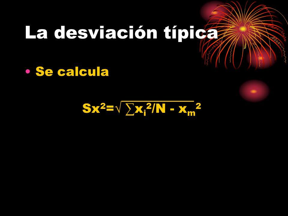 La desviación típica Se calcula Sx2=√ ∑xi2/N - xm2