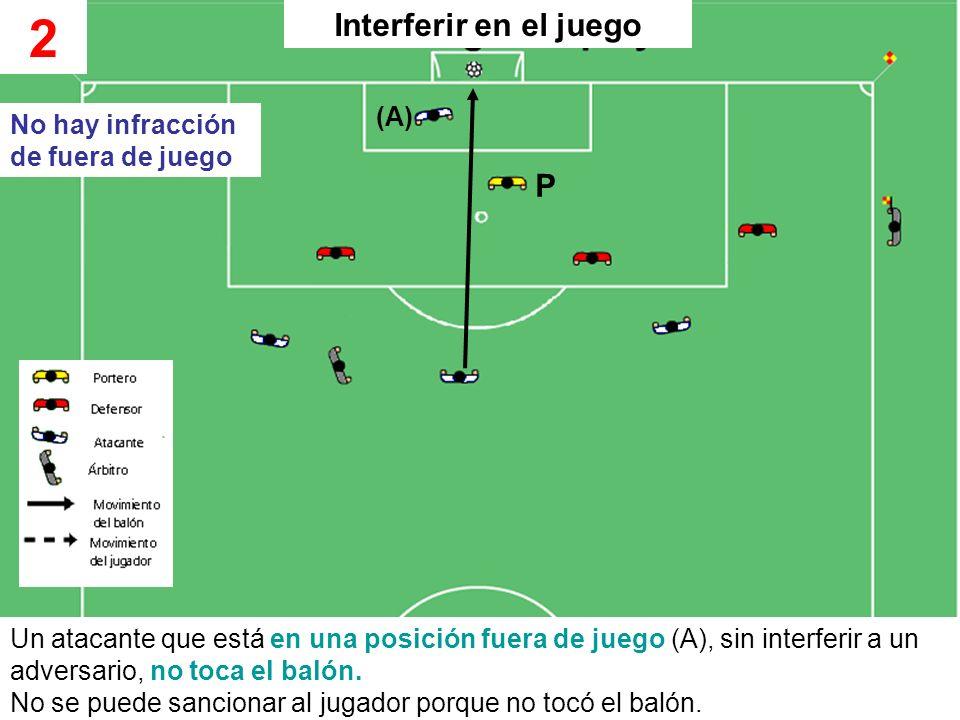 2 Interferir en el juego P (A) No hay infracción de fuera de juego