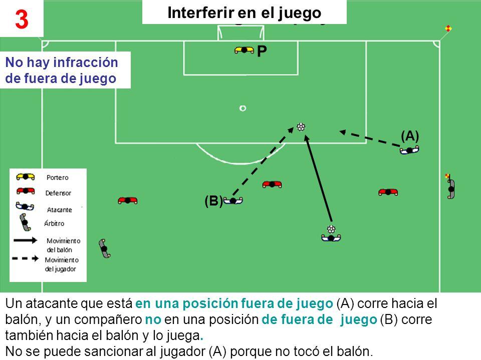 3 Interferir en el juego P No hay infracción de fuera de juego (A) (B)