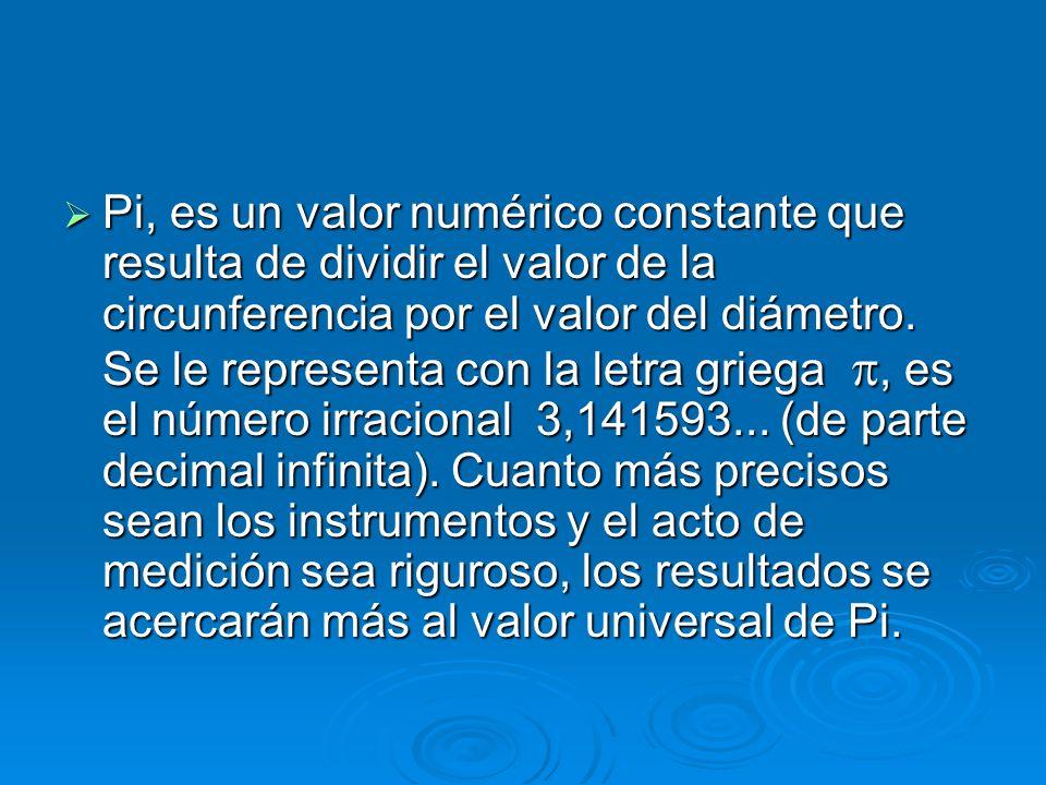 Pi, es un valor numérico constante que resulta de dividir el valor de la circunferencia por el valor del diámetro.