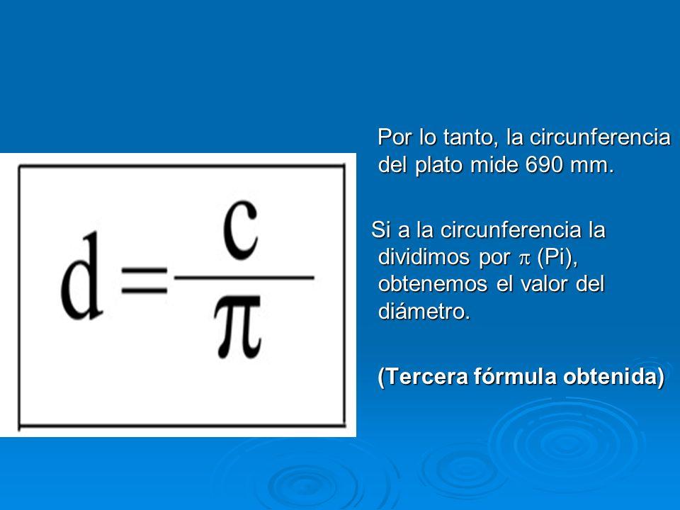 Por lo tanto, la circunferencia del plato mide 690 mm.