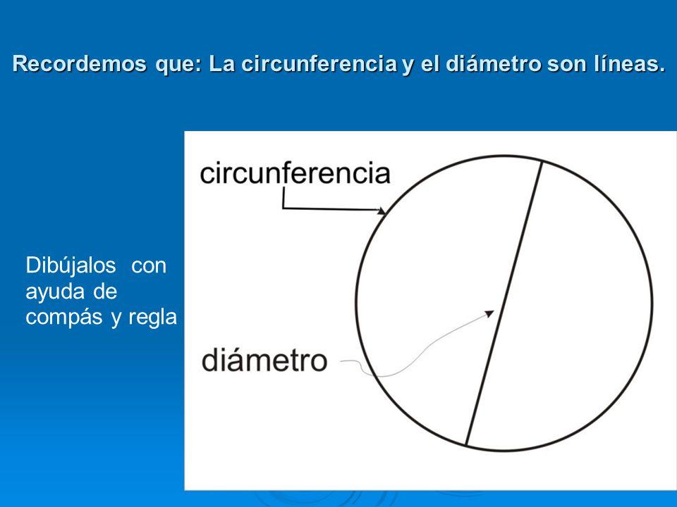 Recordemos que: La circunferencia y el diámetro son líneas.