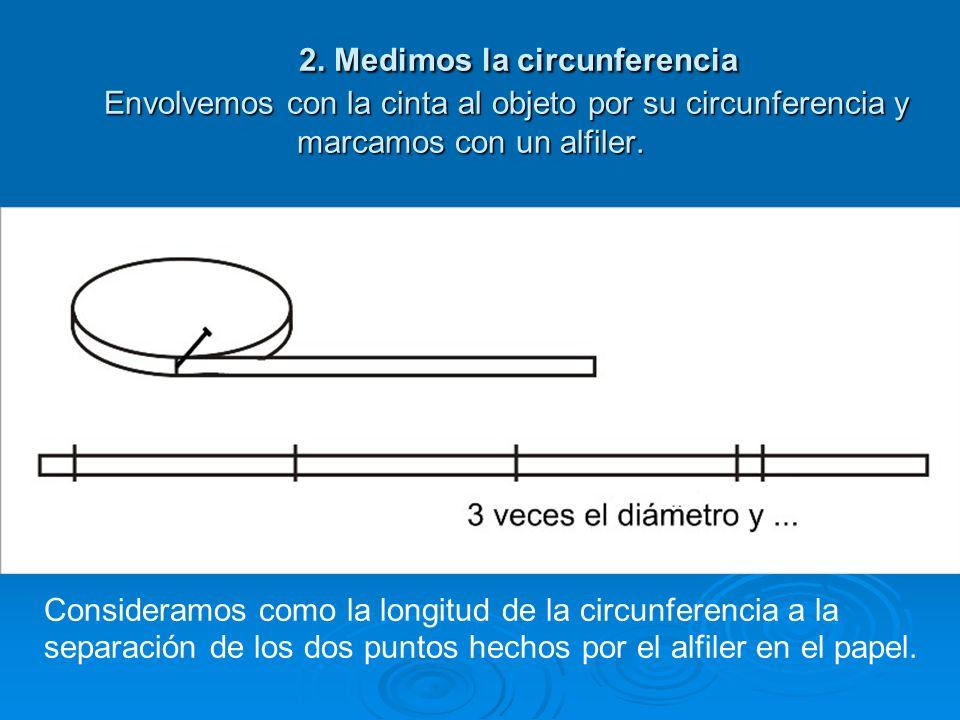 2. Medimos la circunferencia Envolvemos con la cinta al objeto por su circunferencia y marcamos con un alfiler.