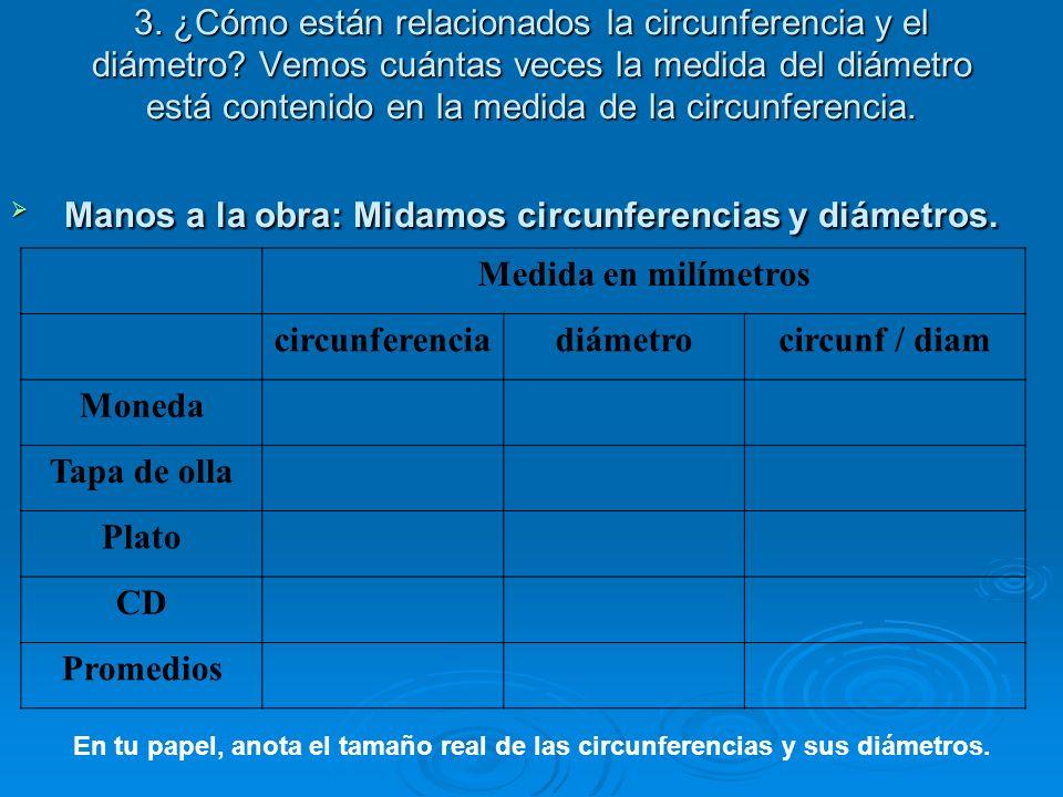 3. ¿Cómo están relacionados la circunferencia y el diámetro