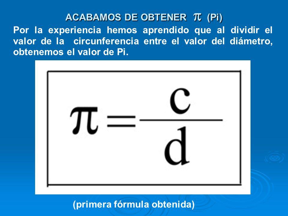 ACABAMOS DE OBTENER p (Pi)