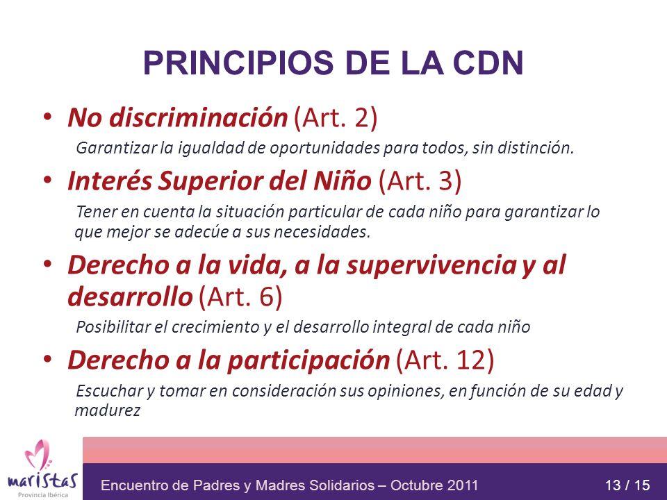 PRINCIPIOS DE LA CDN No discriminación (Art. 2)