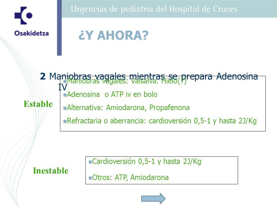 ¿Y AHORA 2 Maniobras vagales mientras se prepara Adenosina IV Estable