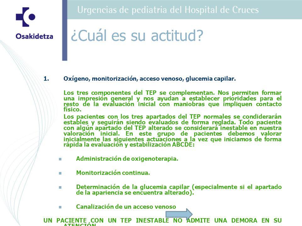¿Cuál es su actitud Oxígeno, monitorización, acceso venoso, glucemia capilar.