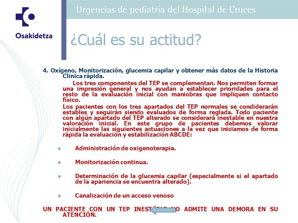 ¿Cuál es su actitud 4. Oxígeno, Monitorización, glucemia capilar y obtener más datos de la Historia Clinica rápida.