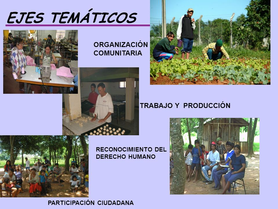 EJES TEMÁTICOS ORGANIZACIÓN COMUNITARIA TRABAJO Y PRODUCCIÓN