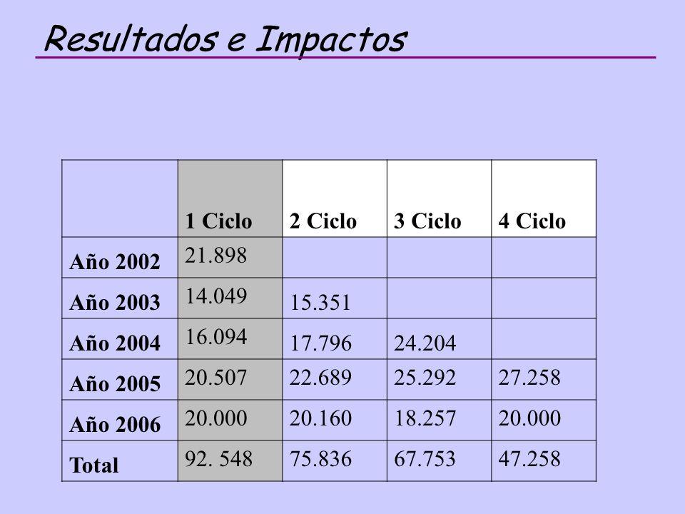 Resultados e Impactos 1 Ciclo 2 Ciclo 3 Ciclo 4 Ciclo Año 2002 21.898