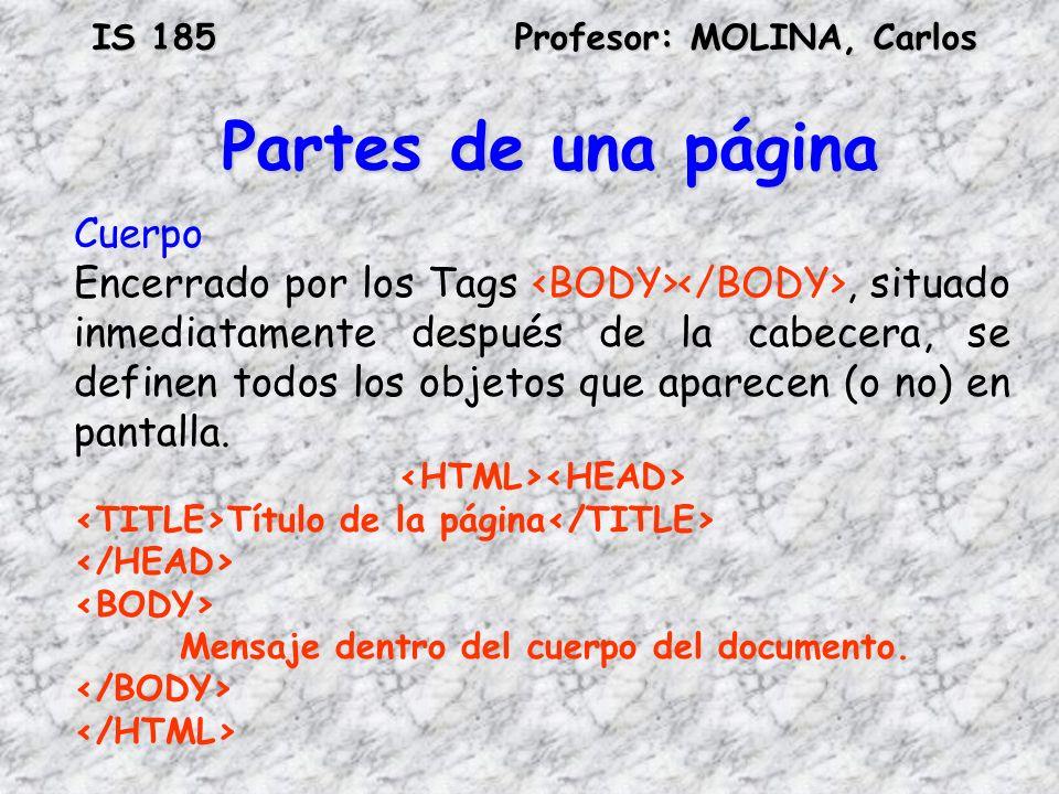 Partes de una página Cuerpo