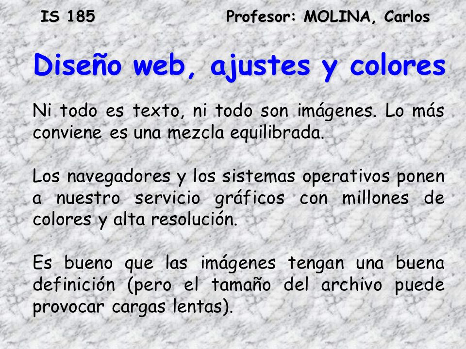 Diseño web, ajustes y colores