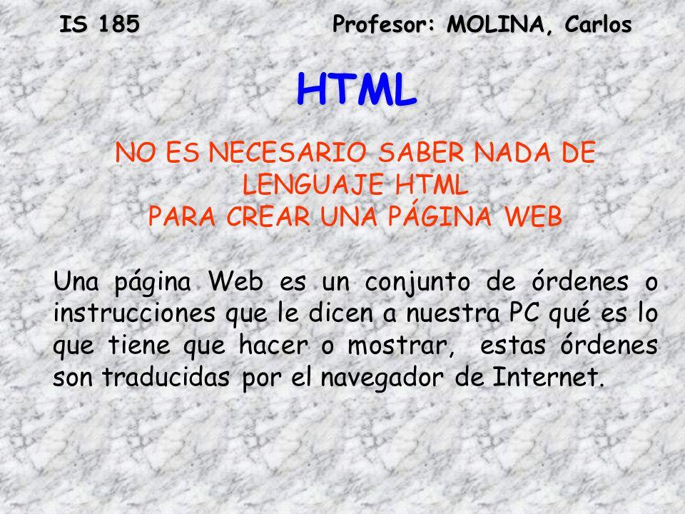 HTML NO ES NECESARIO SABER NADA DE LENGUAJE HTML