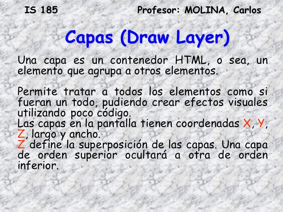 Capas (Draw Layer) Una capa es un contenedor HTML, o sea, un elemento que agrupa a otros elementos.
