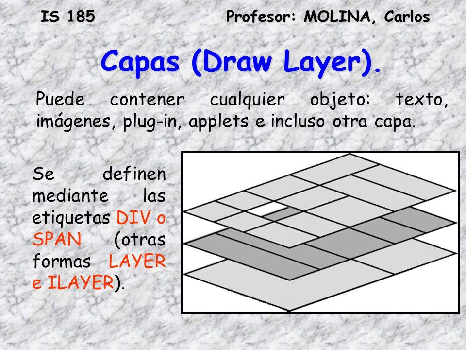 Capas (Draw Layer). Puede contener cualquier objeto: texto, imágenes, plug-in, applets e incluso otra capa.