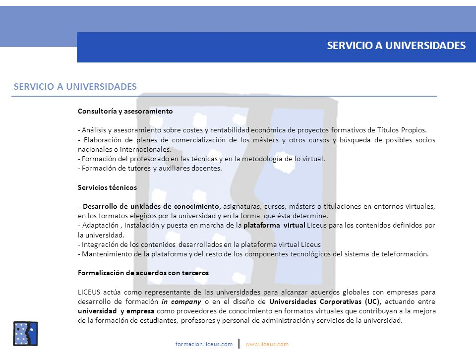 SERVICIO A UNIVERSIDADES