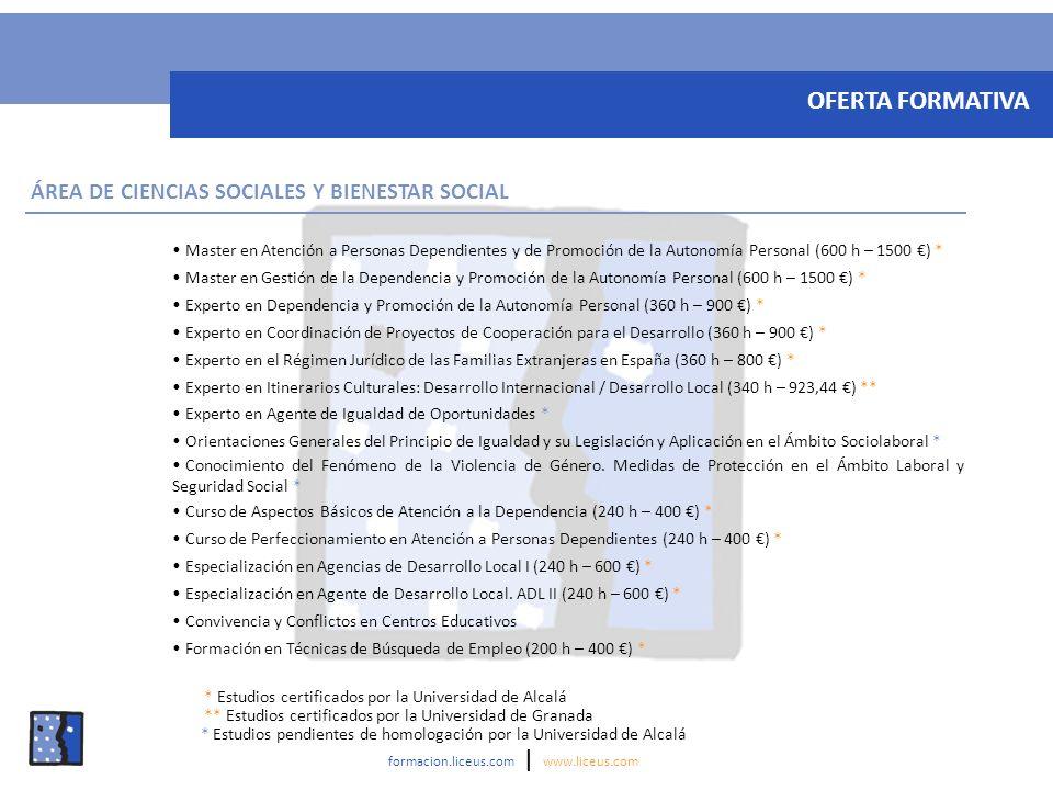 OFERTA FORMATIVA ÁREA DE CIENCIAS SOCIALES Y BIENESTAR SOCIAL