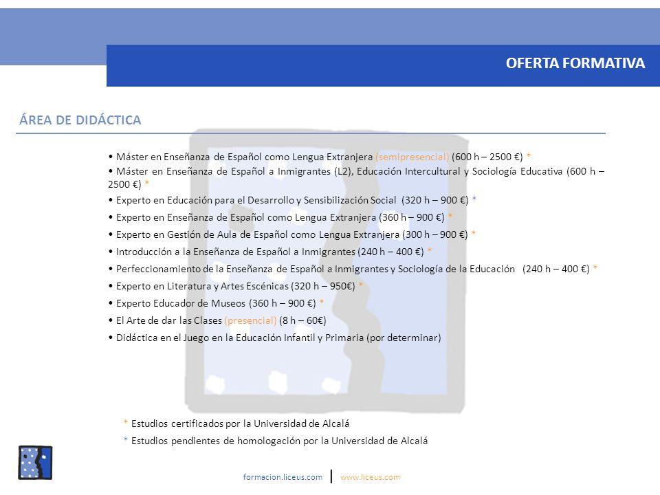 OFERTA FORMATIVA ÁREA DE DIDÁCTICA