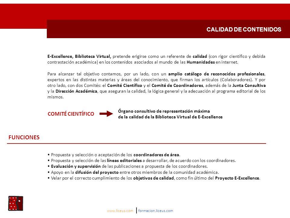 FUNCIONES CALIDAD DE CONTENIDOS COMITÉ CIENTÍFICO