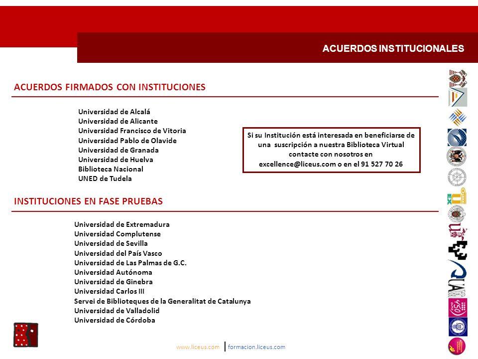 ACUERDOS FIRMADOS CON INSTITUCIONES