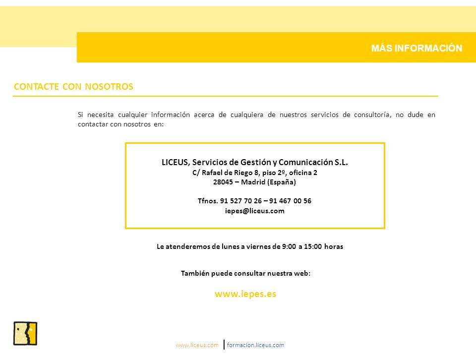 CONTACTE CON NOSOTROS www.iepes.es MÁS INFORMACIÓN