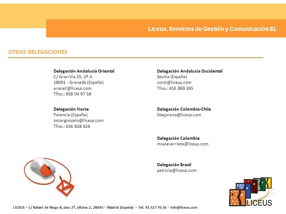 OTRAS DELEGACIONES Liceus, Servicios de Gestión y Comunicación SL