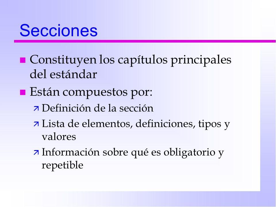 Secciones Constituyen los capítulos principales del estándar